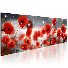 leinwand bilder mohnblumen blumen rot weiß natur wandbilder
