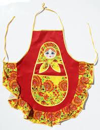 100 Matryoshka Kitchen Red Apron Traditional Russian Babushka Doll Home