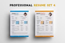 Professional Resume Set 4 Templates Creative Market