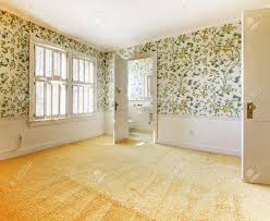 Old American House Bedroom Interior With Wallpaper And Carpet Stock Photo