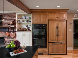 The Counter Depth Refrigerator Blends Nicely With Decorative Wood Panels In This Period Style Rustic Fort Washington PA Kitchen