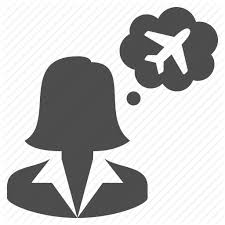 Plane Thinking Thought Bubble Travel Agent Woman Icon