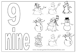 Number 9 Coloring Page Snowmans