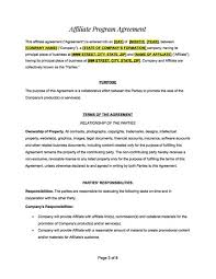 Affiliate Agreement Contract Template The ShopR