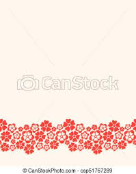 Seamless Bottom Border Made Of Red Paper Cut Flowers