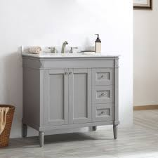 Distressed Bathroom Vanity 36 by Catania Grey White Carrara Marble Top 36 Inch Single Vanity By