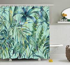 yukihome green tropical palm tree shower curtain for bath