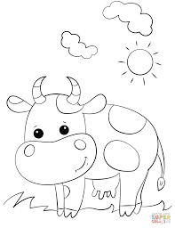 Cute Cartoon Cow Coloring Page For Coloring Pages
