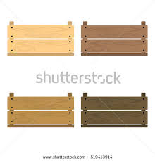 Set Of Vector Illustrations Wooden Vegetable Box With Holes Fruit Drawer Front View