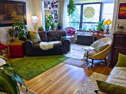 ApartmentsModern Living Room Bohemian Apartment Decor With Textured Wood Floor And Dark Brown Leather