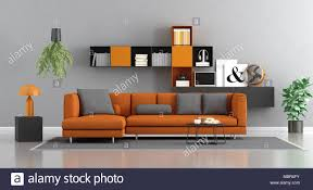 modern orange and gray living room with sofa and bookcase on