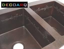 Primitive Kitchen Sink Ideas by Double Bowl Copper Kitchen Sink Western Decor Barb Wire Long Horns