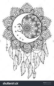 Native American Indian Talisman Dreamcatcher With Feathers Moon Coloring Page