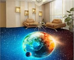 Space Themed 3D Epoxy Flooring For Living Room Designs