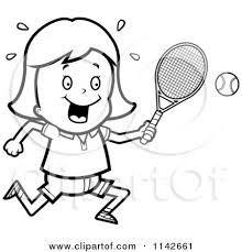 Cartoon Clipart A Black And White Tennis Girl Swinging Her
