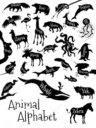 Animal Alphabet Poster For Children Animal Silhouettes With Names