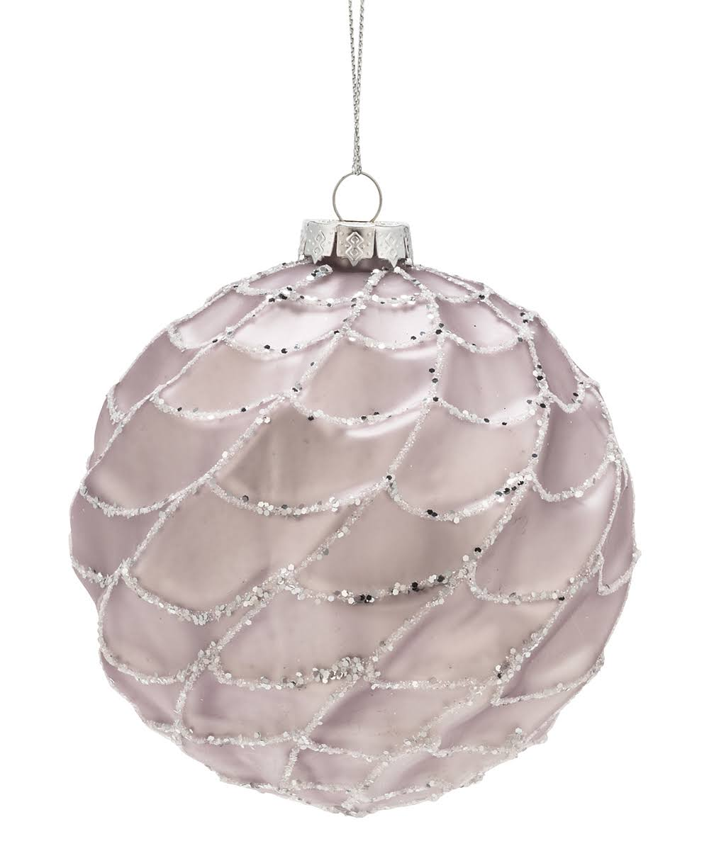 Abbott Holiday Ornament Pink Ripple Glitter Ball Ornament One-Size