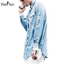 Wholesale Ripped Jeans Shirt Men 2017 Autumn Hi Fashion Front Short Back Long Curved Hem Denim Mens Shirts Hip Hop