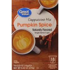 Keurig Pumpkin Spice Coffee Nutrition by Great Value Pumpkin Spice Cappuccino Mix Single Serve Cups 18