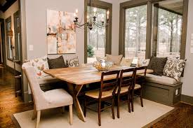 Fabulous Benches Banquettes Room Transitional Art Ideas Houzz Dining Eclectic With Colorful Chandelier Ceiling Medallion