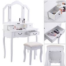 Vanity Mirror Dresser Set by Tri Folding Mirror White Wood Vanity Set Makeup Table Dresser 4