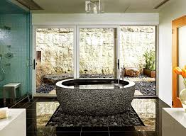 View In Gallery Gorgeous Use Of Natural Pebbles Under The Standalone Bathtub