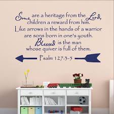 Christian Bible Verse Vinyl Wall Decal Psalm 1273 5 Sons Are A Heritage