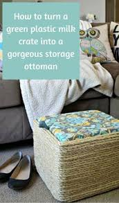 How To Turn A Green Plastic Milk Crate Into Gorgeous Storage Ottoman