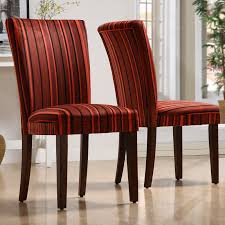 French Script Chair Canada by Homelegance Royal Red Striped Design Fabric Parson Chairs Brown