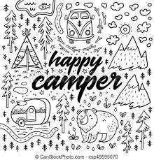 Happy Camper Vector Hand Drawn Card Cartoon Camping Print