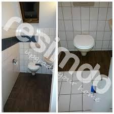 fliesen toilette folieren renovieren holz bekleben diy