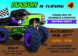 100 Truck Birthday Invitations Monster Blackline