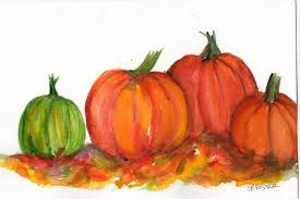 Pumpkin Patch Caledonia Il For Sale by Pumpkins Watercolor Painting Original 5 X 7 Kitchen Wall
