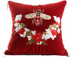 casa padrino luxus deko kissen mit troddeln bee rot mehrfarbig 45 x 45 cm feinster samtstoff luxus deko accessoires