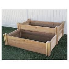 large multi level rustic raised garden bed brown gronomics