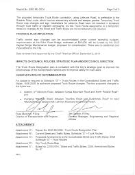 100 Truck Route Map ENG 662014 Street And Traffic Bylaw Amendment S