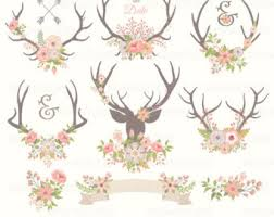 Antlers Clipart WEDDING ANTLERS CLIPART With Flower Clip Art Rustic Antler
