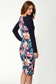 boohoo kelly long sleeve floral print polyester midi dress in