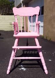 Distressed Wooden High Chair Tutorial {In Pink} - Pumpkin + Rose