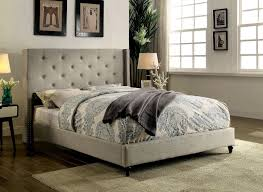 Roma Tufted Wingback Bed by Padded Headboard King Designs Bedroom Tan Tufted Wingback