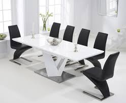 100 White Gloss Extending Dining Table And Chairs Harmony 160cm High With Black