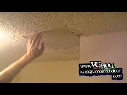 Patching Popcorn Ceiling Paint by Popcorn Ceiling Repairs Patching Holes In The Drywall Youtube