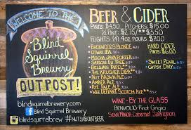 blind squirrel brewery outpost menue NC Blue Ridge
