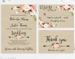 Rustic Wedding Invitation Printable Invitations Floral Suite Blush Pink Invite Boho Peonies Bohemian
