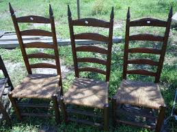 Tall Ladder Back Chairs With Rush Seats by 3 Ladder Back Chairs Hand Carved Possibly Maple Or Pine With Rush