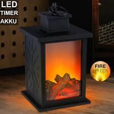details zu led tisch kamin leuchte feuer flammen effekt wohnzimmer deko laterne timer le