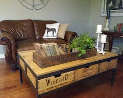 Rustic 6 Drawer Vintage Crate Coffee Table Farmhouse Industrial Reclaimed Warehouse Lumber