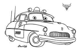 Cars Sheriff From Disney Coloring Page