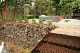 cross tie retaining wall deck industrial with modern bench top