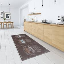 küchenteppich waschbar teppichläufer brücke flur braun modern